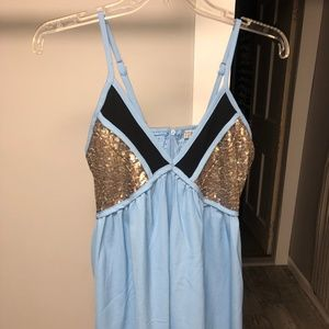 Blue and Black Dress with Gold Sequins